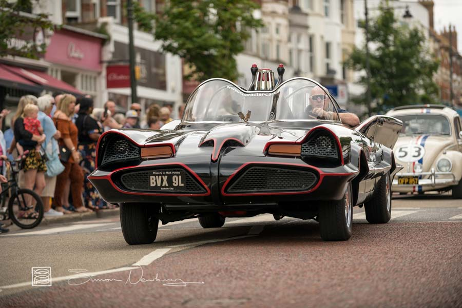 The Batmobile and Herbie in the Bexhill town parade