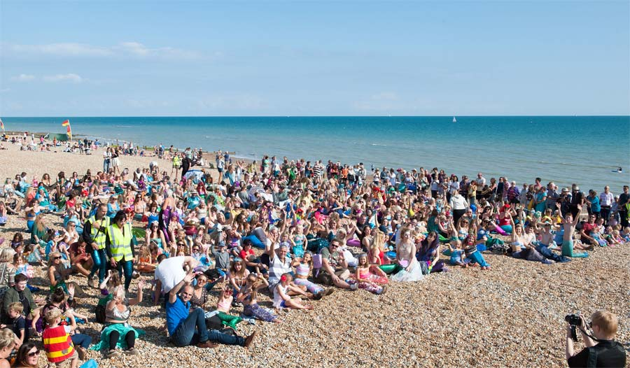 The world record attempt for the largest gathering of mermaids