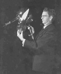 John Logie Baird holding his Telechrome Colour Tube
