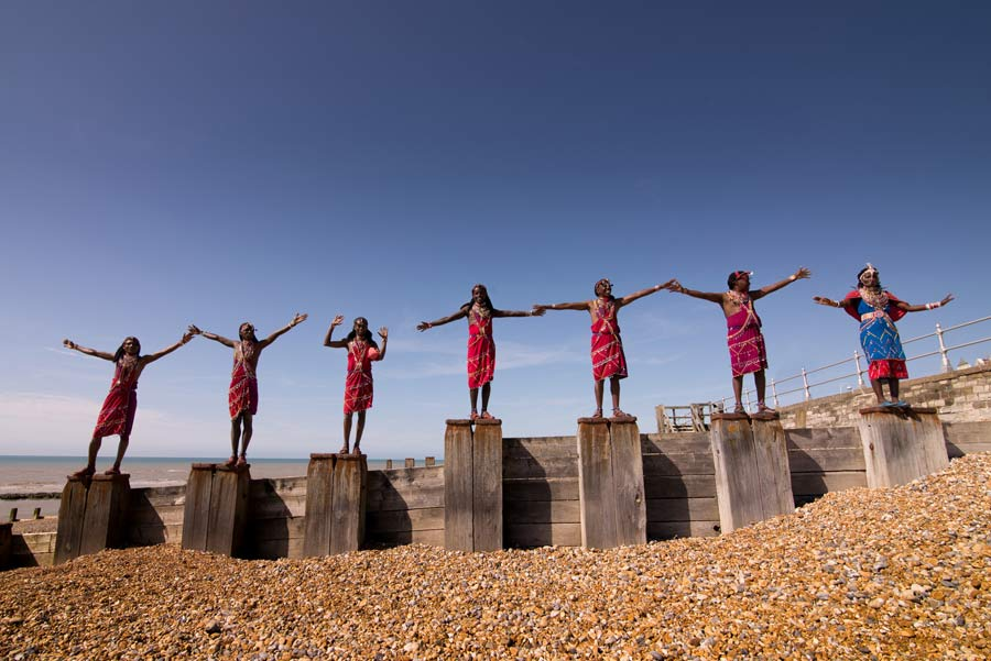 Maasai Warriors make themselves at home on Bexhill beach